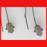 Sterling silver Hamsa Ear Threader, Hand of Fatima Ear Threader