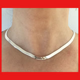 Sterling Silver Italian Flat Chain Necklace