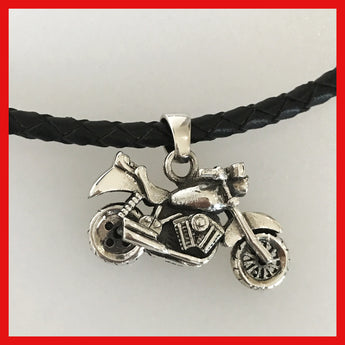 Sterling Silver Motorcycle Pendant With Spinning Wheels