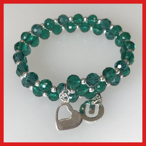 """Love U"" Bracelet with Green Crystals, Sterling silver Charms"