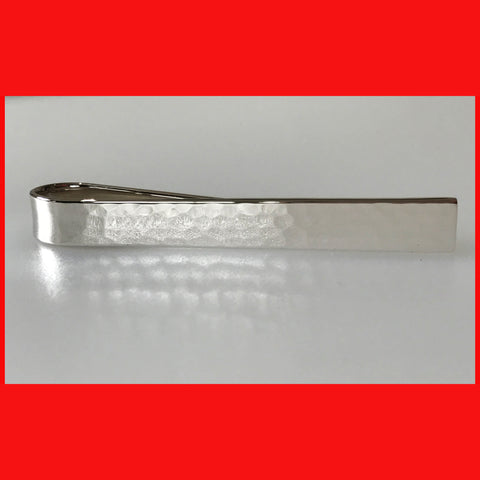 Hammered Sterling silver Tie Bar
