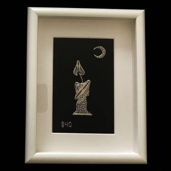 Silver Candle and Moon in Deep White Frame