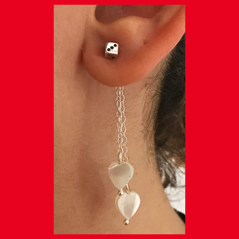 Mother of Pearl Double Hearts Earrings Attachment Part