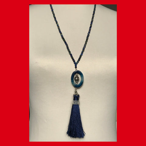 Azurite Long Necklace with Blue Tassel