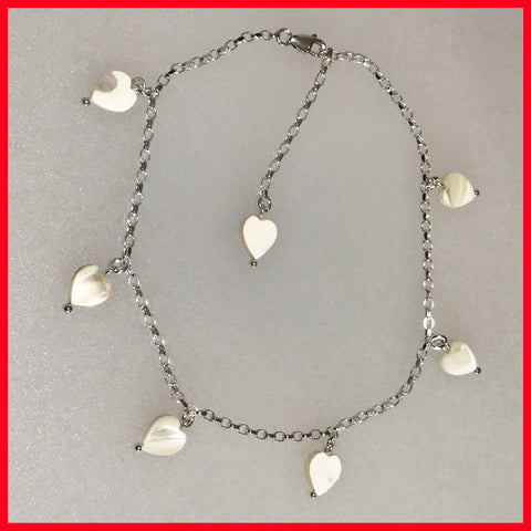 Anklet Chain with Heart Dangles