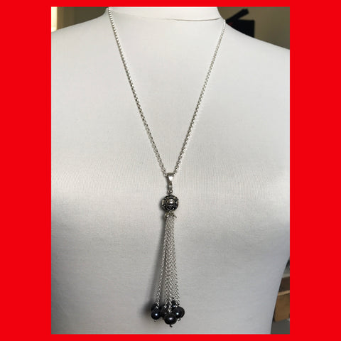 Long Necklace with Grey Pearls Tassel