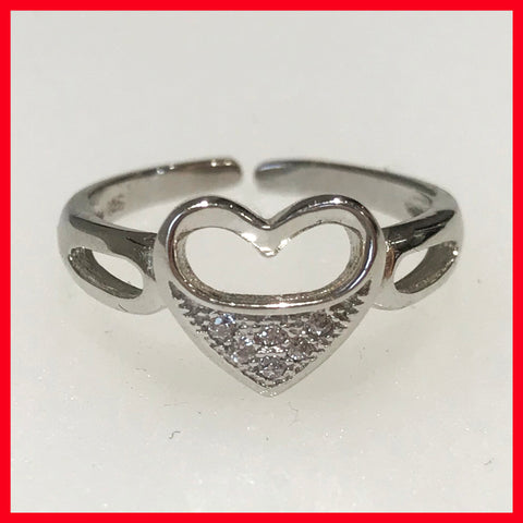 Toe rings; Heart with Cubic Zirconia
