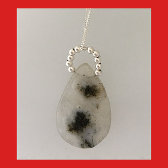 Solar Quartz Pendant with Sterling Silver Balls bail
