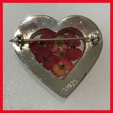 Heart Shaped Poppy Brooch