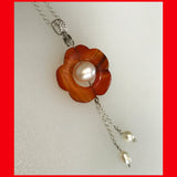 Flower Agate and Pearl Necklace