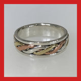 Rings; Sterling Silver Ring with Twisted Brass, Copper and Silver Spinner ring