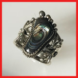 Foot Shape Sterling Silver Ring with Abalone