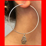 Large Hoop Earrings with Hamsa
