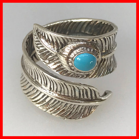 Sterling Silver Feather Ring with Blue Turquoise