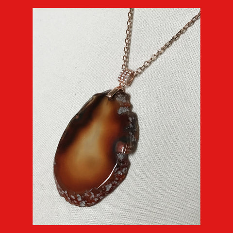 Necklaces; Natural Agate Slice with Rose-gold Plated Findings