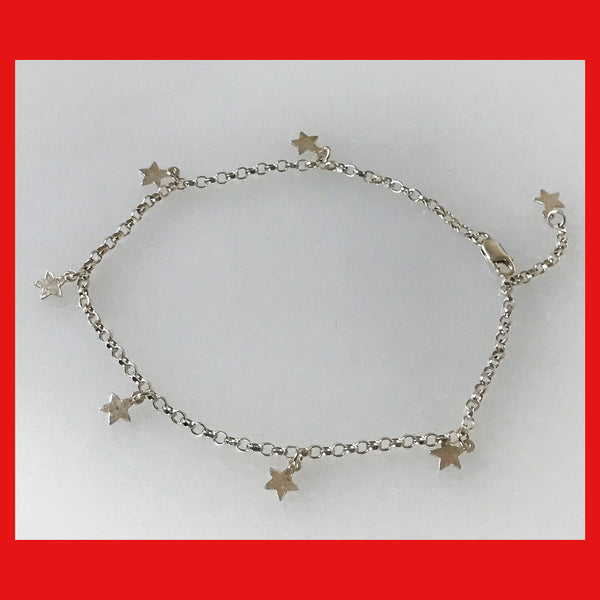 Sterling Silver Anklet with Star Dangles