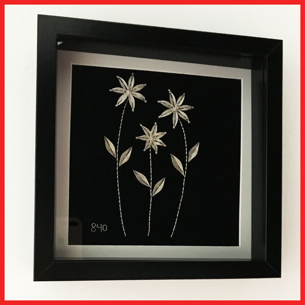 Solid Silver(840) Handmade Flowers in Black Frame