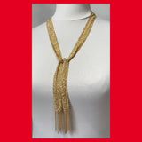 Gold-plated Long Mesh Chain Necklace