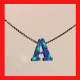Blue Opal Letter necklet, Initial necklace