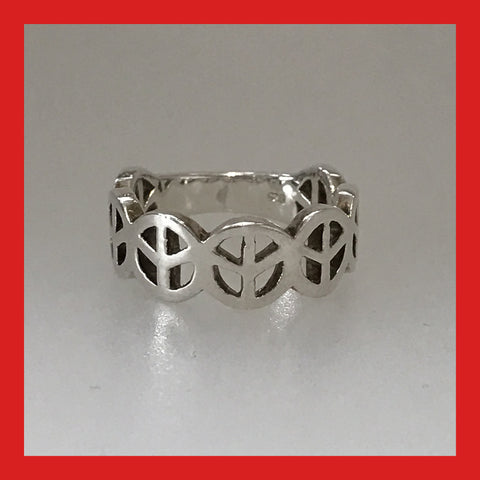 "Sterling Silver ""Peace Sign"" Ring"