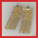 Gold-plated Sterling Silver Mesh Chain Earrings