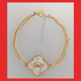 Bracelets; 4Clover Birth Sign with 18ct Gold Frame