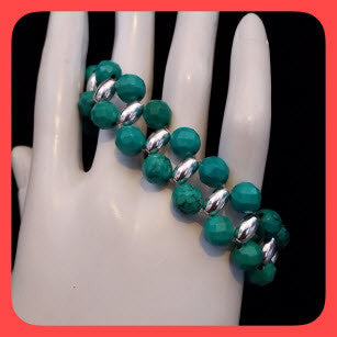 Bracelets; Green Turquoise and sterling silver beads