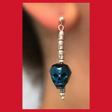 Long Blue Skull Crystal Earrings