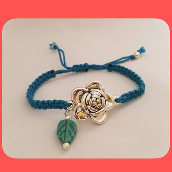 Bracelets; Sterling Silver flower shaped connector
