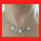 Personalised Name Necklace with Stamped Initial Silver Coins
