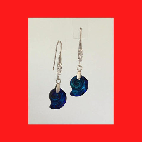 Bermuda Blue Sea Snail Crystal Drop Earrings