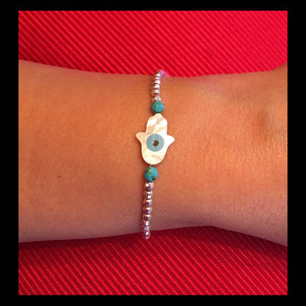Elastic Bracelet with Pearl Hamsa and Sterling Silver beads