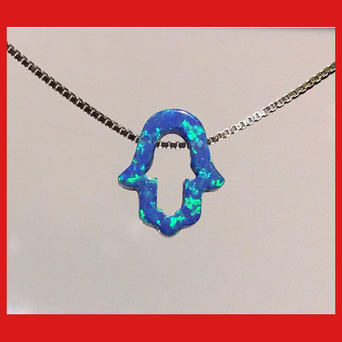 Hollow Opal Hamsa Choker, Hamsa Necklace