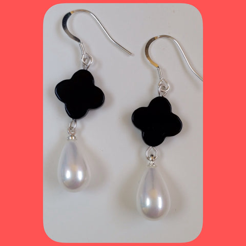 Earrings; Drop shaped mother of pearl and Clover shaped Onyx