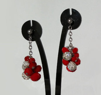 Earrings; Red crystals and Shamballa