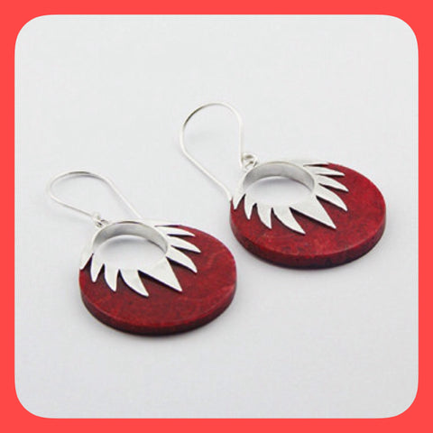 Earrings; Sterling silver and disc shaped red Coral