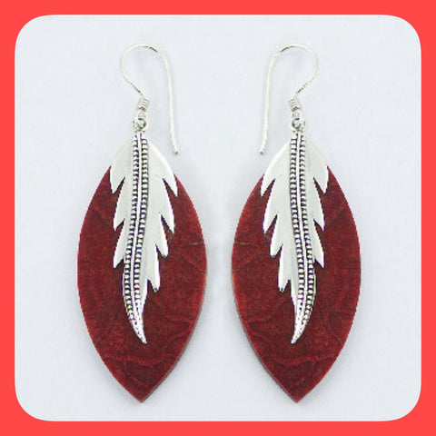 Earrings; Sterling silver and leaf shaped red Coral