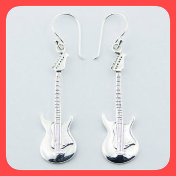 Earrings; Sterling Silver Guitar