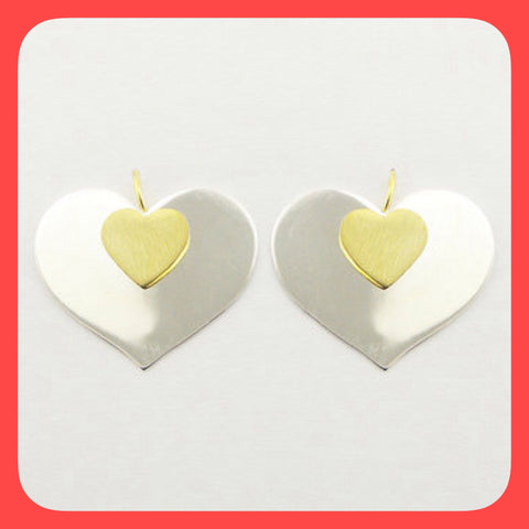 Earrings; Sterling silver with gold plated heart shape drop