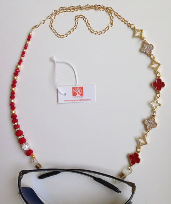 Spectacle chains; Rhinestone red clover shape