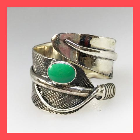 Sterling Silver Feather Ring with Green Turquoise