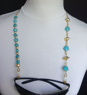 Spectacle chains; Flower shaped turquoise