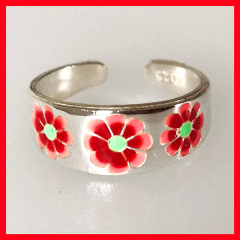 Red Flower Toe Ring, Fingertip Ring