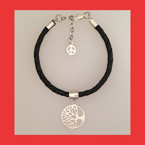 Bracelets; Tree of Life with Black Braided Leather Band