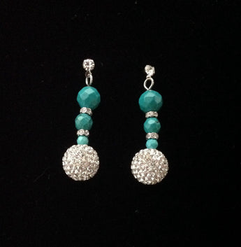 Earrings; Green Turquoise and shamballa