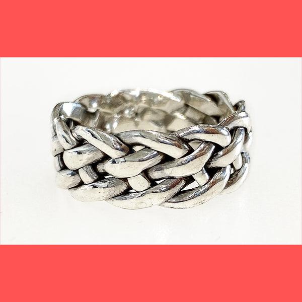 Wide Silver Braided Ring