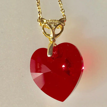 Swarovski Red Heart Necklace with Gold Findings