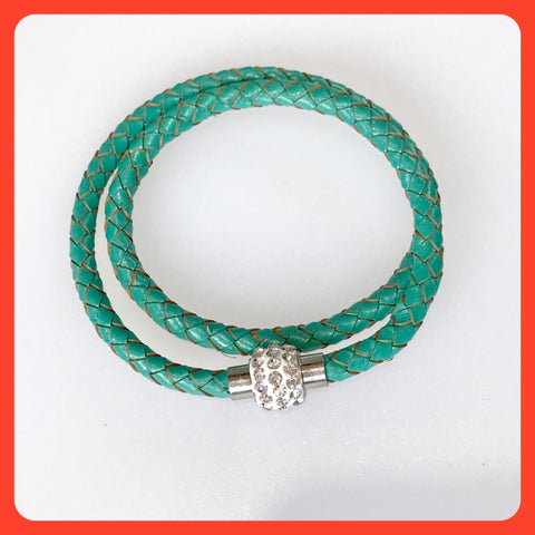Green Braided Leather Necklace-Bracelet