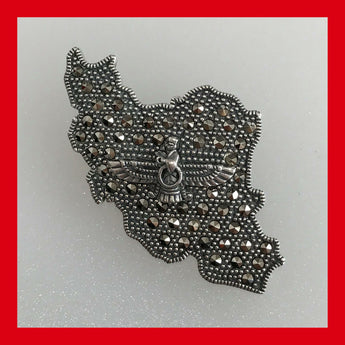 "Marcasite and Sterling Silver ""IRAN"" Pendant & Brooch"
