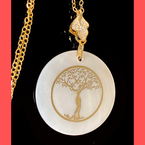 Women Tree of Life Silhouette on MOP Necklace